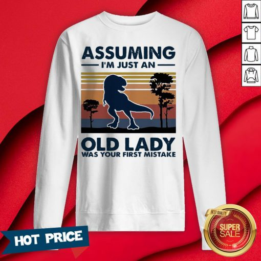 Dinosaur Assuming I'm Just An Old Lady Was Your First Mistake Vintage Retro Sweatshirt
