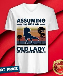 Dinosaur Assuming I'm Just An Old Lady Was Your First Mistake Vintage Retro V-neck