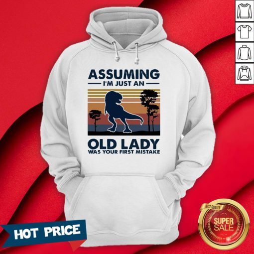Dinosaur Assuming I'm Just An Old Lady Was Your First Mistake Vintage Retro Hoodie