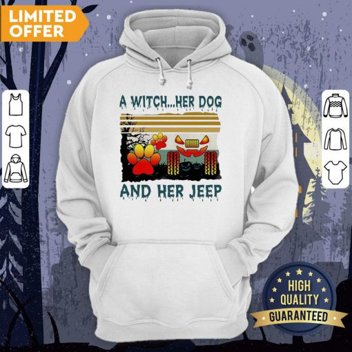 A Witch Her Dog And Her Jeep Halloween Vintage Hoodie