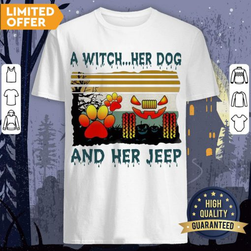 A Witch Her Dog And Her Jeep Halloween Vintage Shirt