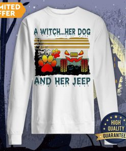 A Witch Her Dog And Her Jeep Halloween Vintage Sweatshirt