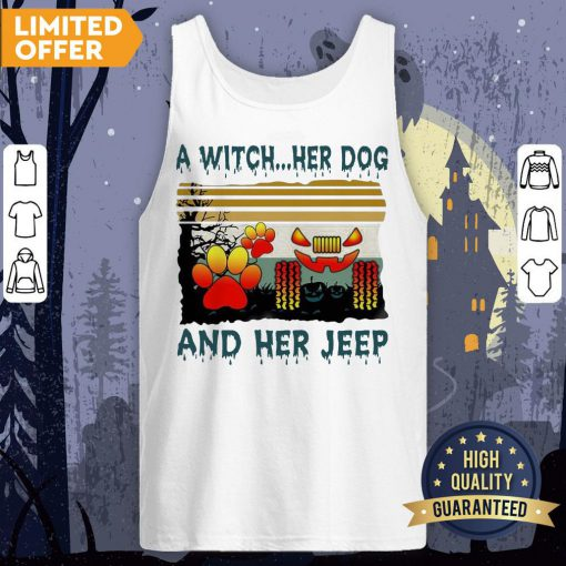 A Witch Her Dog And Her Jeep Halloween Vintage Tank Top