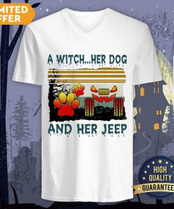 A Witch Her Dog And Her Jeep Halloween Vintage V-neck
