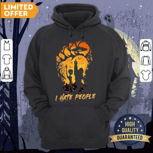 Bigfoot And Alien I Hate People Halloween Hoodie