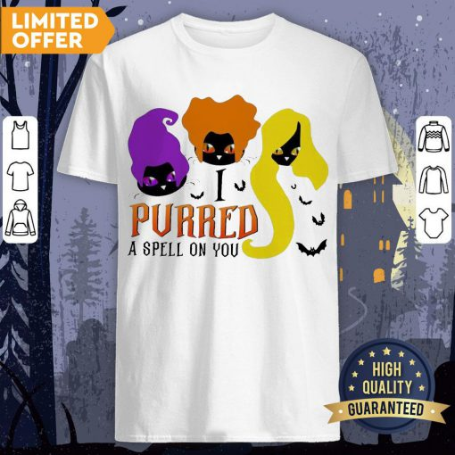 Black Cat Hocus Pocus I Purred A Spell On You Halloween Shirt