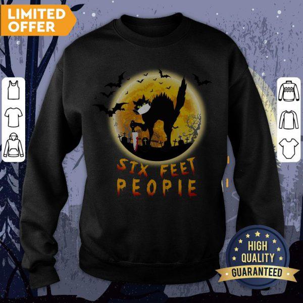 Black Cat Six Feet People Horror Halloween Sweatshirt
