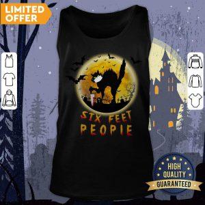 Black Cat Six Feet People Horror Halloween Tank Top