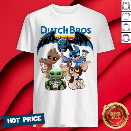 Dutch Bros Coffee Baby Yoda Groot Stitch Toothless And Gremlins Shirt