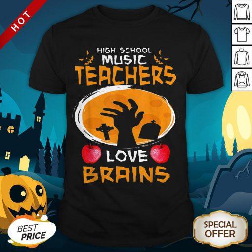 Halloween High School Science Teachers Love Brains Apple Shirt
