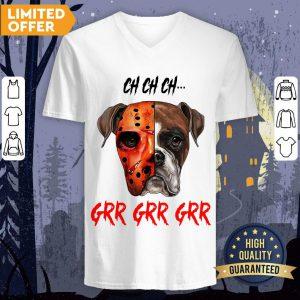 Happy Halloween Dog Ch Ch Ch Grr Grr Grr V-neck