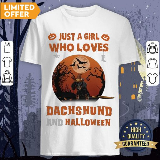 Just A Girl Who Loves Dachshund And Halloween Shirt