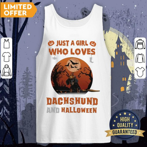 Just A Girl Who Loves Dachshund And Halloween Tank Top