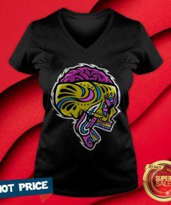 Sugar Crazy Skull Color Day Of Dead Dia De Los Muertos V-neck