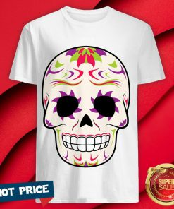 Sugar Skull Purple And Green Day Of Dead Shirt