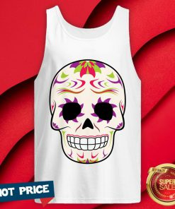 Sugar Skull Purple And Green Day Of Dead Tank Top