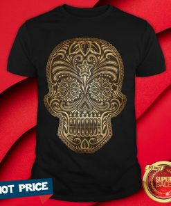 Vintage Aged And Scratched Sugar Skull Day Of The Dead Shirt