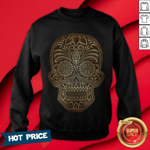 Vintage Aged And Scratched Sugar Skull Day Of The Dead Sweatshirt