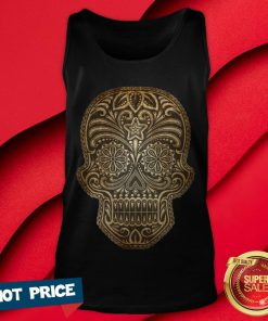Vintage Aged And Scratched Sugar Skull Day Of The Dead Tank Top