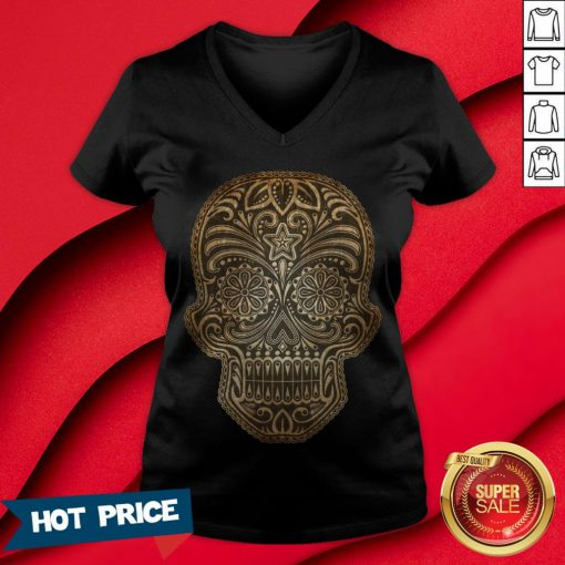 Vintage Aged And Scratched Sugar Skull Day Of The Dead V-neck