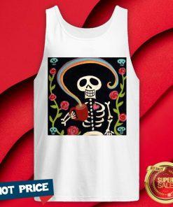 Rainbow Skelly Skeleton Halloween V-neck
