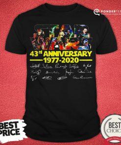 Star Wars 43rd Anniversary 1977 2020 Characters Signatures Shirt - Desisn By Reallovetees.com