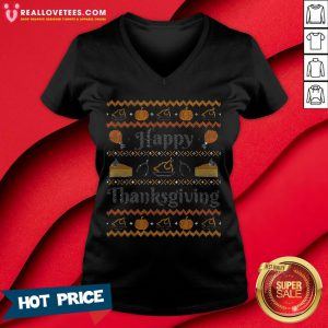Sweet Happy Thanksgiving, Ugly Thanksgiving Sweater V-neck - Design By Reallovetees.com