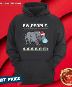 Top Ew People Hippo Wearing Mask Christmas Hoodie - Design By Reallovetees.com