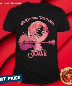 Witch In October We Wear Pink Guitar Halloween Shirt