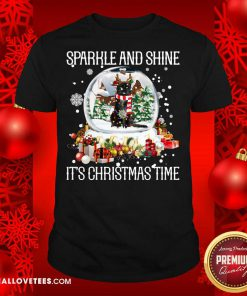 Cat Sparkle And Shine It's Christmas Time Shirt- Design By Reallovetees.com