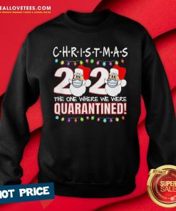 Funny Christmas 2020 Quarantine Santa Face Wearing Mask Sweatshirt - Design By Reallovetees.com
