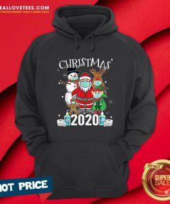 Funny Christmas Santa Claus and Friends Wearing Mask 2020 Hoodie - Design By Reallovetees.com