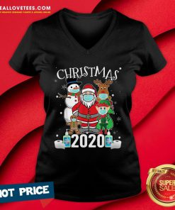 Funny Christmas Santa Claus and Friends Wearing Mask 2020 V-neck - Design By Reallovetees.com