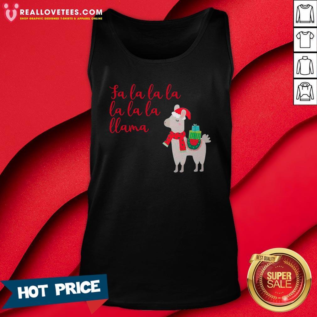 Funny Fa La La La La La La Llama Christmas Tank Top - Design By Reallovetees.com