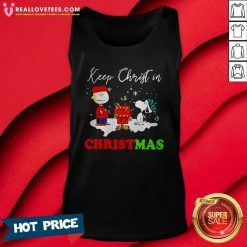 Good Snoopy And Charlie Brown Keep Christ In Christmas Tank Top - Design By Reallovetees.com