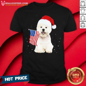 Great Poodle Santa American flag Happy Christmas Shirt - Design By Reallovetees.com