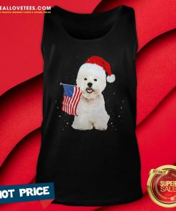 Great Poodle Santa American flag Happy Christmas Tank Top - Design By Reallovetees.com