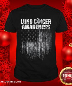 Lung Cancer Awareness Survivor Therapists Carcinoma Warrior American Flag Shirt - Design By Reallovetees.com