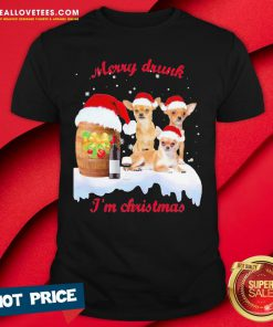 Hot Wine Chihuahuas Santa Merry Drunk I'm Christmas Shirt - Design By Reallovetees.com