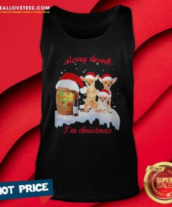 Hot Wine Chihuahuas Santa Merry Drunk I'm Christmas Tank Top - Design By Reallovetees.com