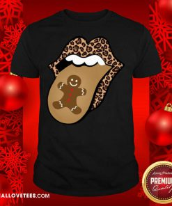 Christmas Mouth Tongue Lips Gingerbread Cookie Man Christmas Shirt - Design By Reallovetees.com