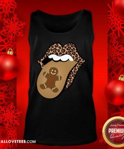Christmas Mouth Tongue Lips Gingerbread Cookie Man Christmas Tank Top - Design By Reallovetees.com