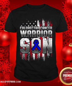 Colorectal Cancer Warrior Son Ribbon American Flag Shirt - Design By Reallovetees.com