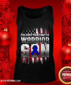 Colorectal Cancer Warrior Son Ribbon American Flag Tank Top - Design By Reallovetees.com