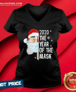 Nice Mailbox Santa 2020 The Years Of The Mask Christmas V-neck - Design By Reallovetees.com