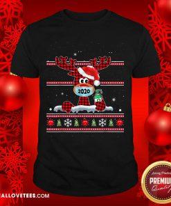 Merry Quarantine Christmas 2020 Reindeer Mask Family Pajamas Shirt - Design By Reallovetees.com