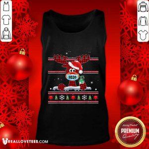 Merry Quarantine Christmas 2020 Reindeer Mask Family Pajamas Tank Top - Design By Reallovetees.com