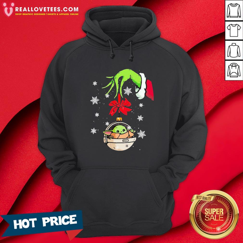 Perfect Grinch Hand Holding Ornament Baby Yoda Merry Christmas Hoodie - Design By Reallovetees.com