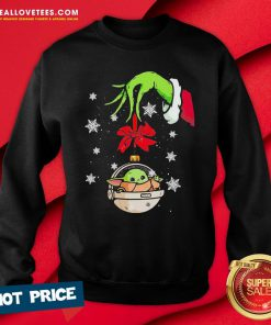 Perfect Grinch Hand Holding Ornament Baby Yoda Merry Christmas Sweatshirt - Design By Reallovetees.com