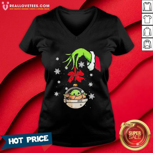 Perfect Grinch Hand Holding Ornament Baby Yoda Merry Christmas V-neck - Design By Reallovetees.com